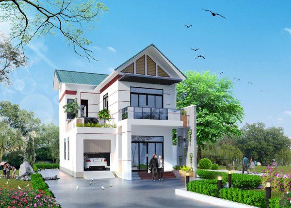 nhà 2 tầng đẹp ở nông thôn