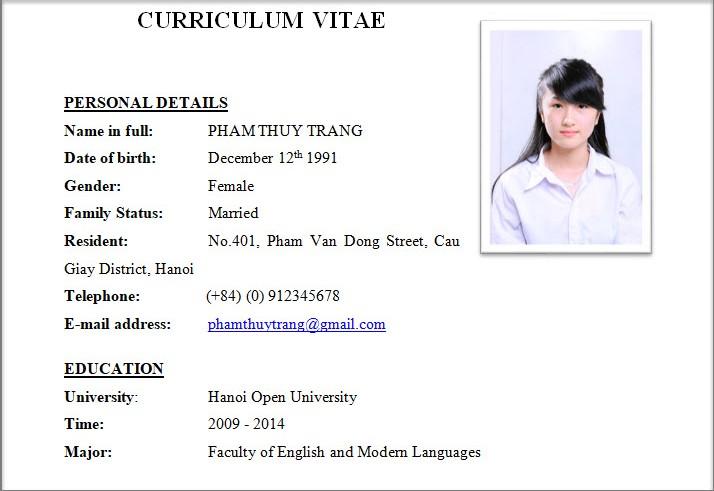 Những thông tin cơ bản khi viết CV
